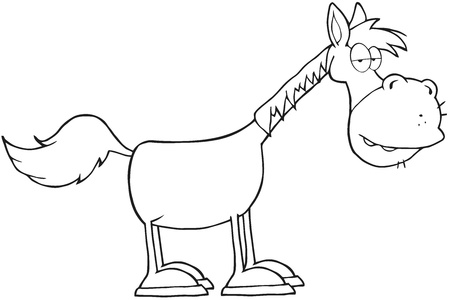Outlined Horse Cartoon Mascot Character Stock Vector - 17928039
