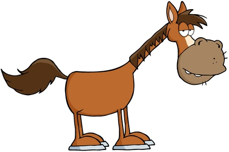 brown horse: Horse Cartoon Mascot Character