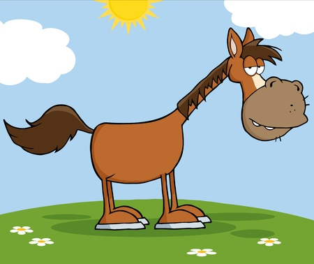 freedom of expression: Horse Cartoon Mascot Character On A Meadow Illustration