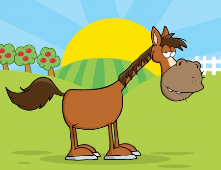 hoof: Horse Cartoon Mascot Character In Country Farm
