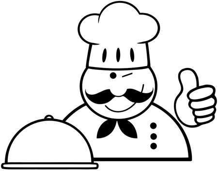 fine cuisine: Delineato l'occhiolino Chef Logo Con Platter mostra pollice in alto Vettoriali