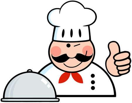 fine cuisine: Strizz� l'occhio Chef Logo Con Platter mostra pollice in alto
