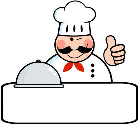 Winked Chef Logo Banner With Platter Showing Thumbs Up Vector