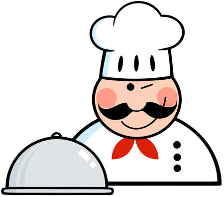 Winked Chef Logo With Platter Vector