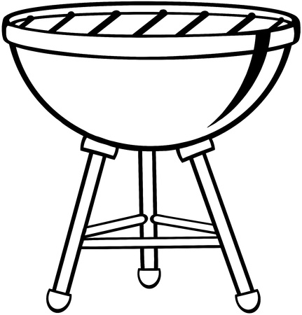 bbq grill: Outlined Barbecue Illustration