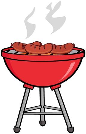 grill meat: Saucisses grill�es sur le barbecue Illustration