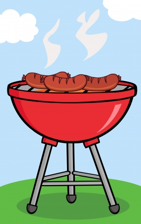 Grilled Sausages On Barbecue With Background Vector