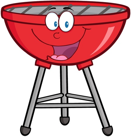 Red Barbecue Cartoon Mascot Character Çizim