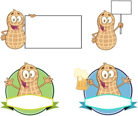 salty: Peanuts Cartoon Mascot Characters-Vector Collection 3 Illustration