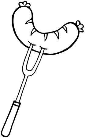 Tenedor perfila con salchichas