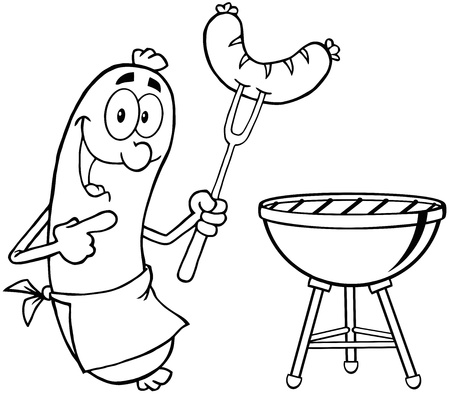 hotdog: Outlined Happy Sausage With Sausage On Fork And Barbecue Illustration