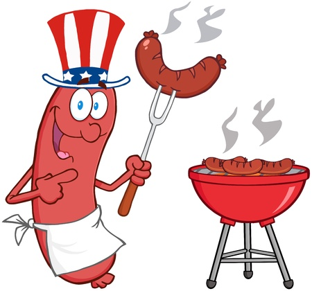 Happy Sausage With American Patriotic Hat Cook At Barbecue