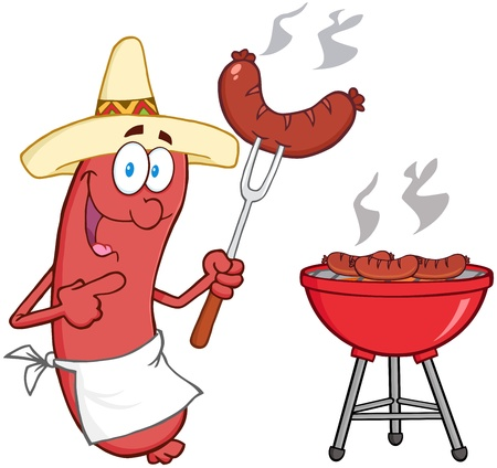 Happy Sausage With Mexican Hat Cook At Barbecue Vector