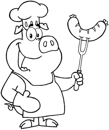 Outlined Pig Chef Cartoon Mascot Character With Sausage On Fork