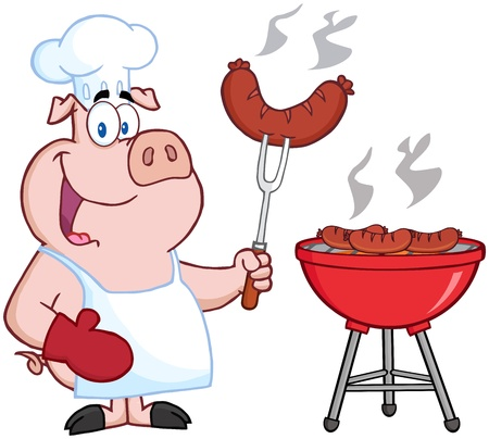 cartoon chef: Happy Pig Chef Cook At Barbecue Illustration