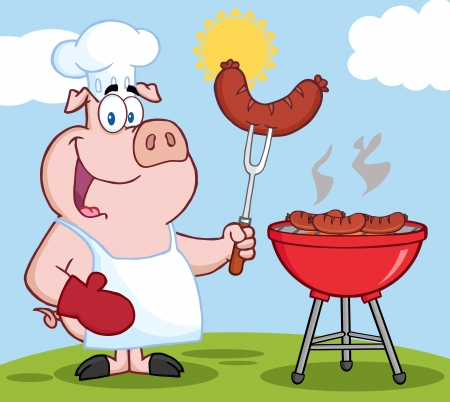 Happy Pig Chef Cook At Barbecue On A Hill Vector