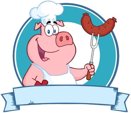 빈 배너 통해 포크에 행복 돼지를 들고 요리사 소시지