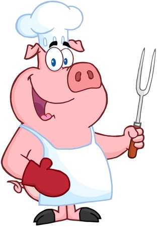 Happy Pig Chef Holding A Fork Vector