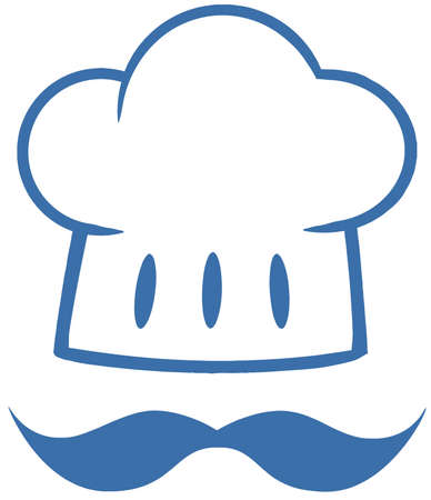 chef hat: Blue Chef Hat With A Mustache Logo Illustration