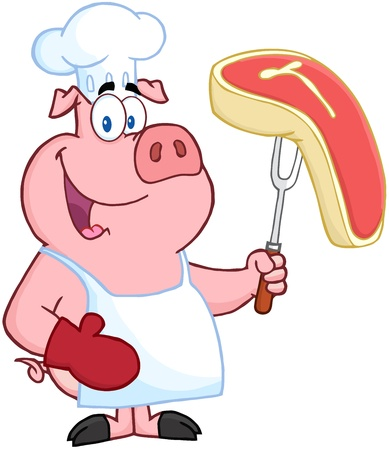 Happy Pig Chef Holding A Fork With Raw Steak