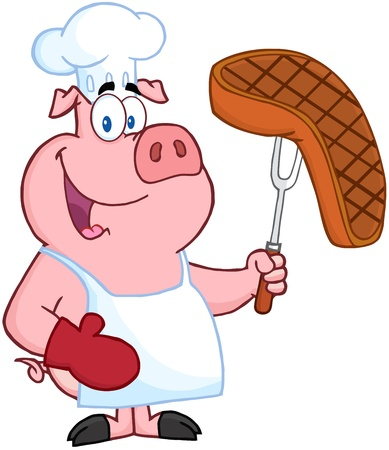 cochinos: Pig Chef Sosteniendo Un Tenedor Con Steak asado