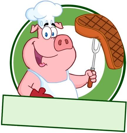 cerdo caricatura: Pig Chef feliz celebraci�n de un bistec en Tenedor sobre una bandera en blanco Vectores