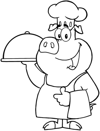 Outlined Happy Pig Chef Holding A Platter