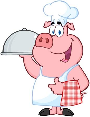 cerdo caricatura: Pig Chef feliz celebraci�n de una bandeja