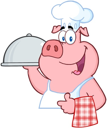 Happy Pig Chef Holding A Platter Sign