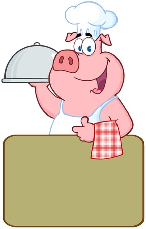 Happy Pig Chef Holding A Platter Over A Blank Sign