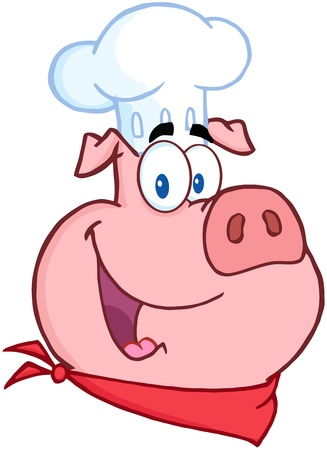 Happy Pig Chef Head Illustration