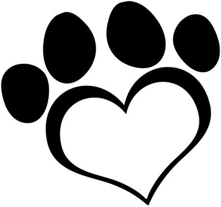 Black Love Paw Print Vector