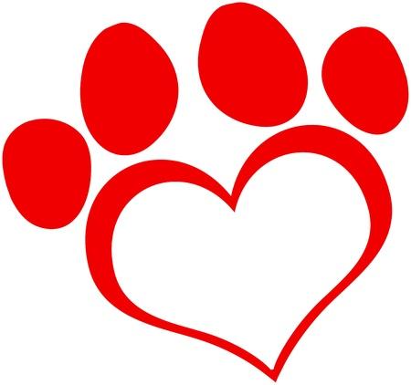 paw print: Love Red Paw Print