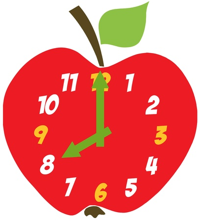 Red Apple Clock Vector
