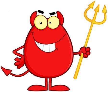 Smiling Devil Easter Egg Cartoon Character
