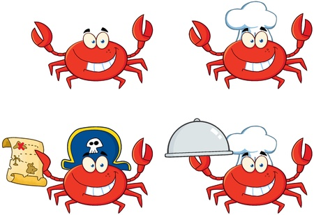Four Crab Cartoon Character  Collection  Vector