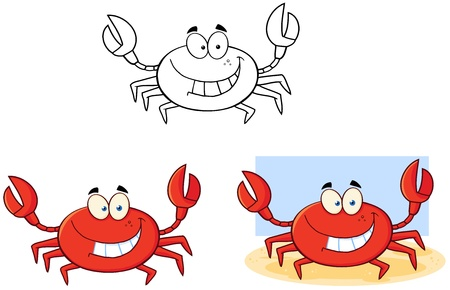 Crab Cartoon Character  Collection  Vector