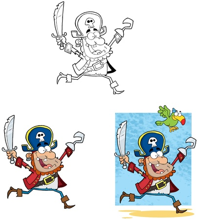 Pirate Running with Sword and Hook Collection  Vector