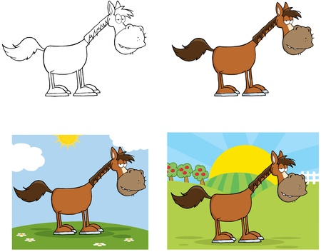 Horse Cartoon Character Collection  Vector