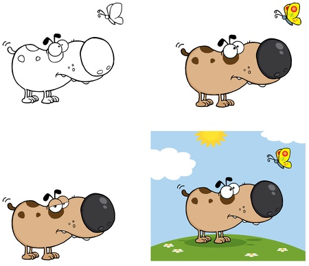 Dog with Butterfly  Collection  Vector