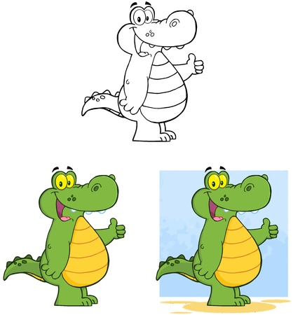 Happy Crocodile Collection  Vector