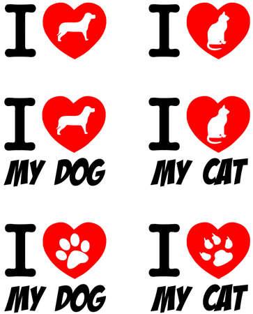 silueta de gato: Amo el perro y el gato Colección Signos Vectores