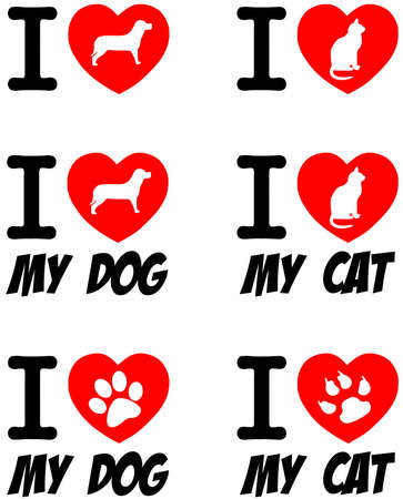 I Love Dog and Cat Signs Collection  Vector