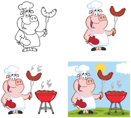 Pigs Grilling Sausage on Barbecue Collection Stock Vector - 18280937