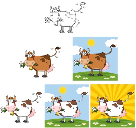 Cow With Flower in Mouth  Collection  Illustration