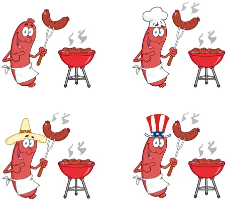 Happy Sausages With Sausage On Fork  Collection  Vector