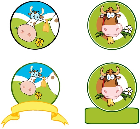 cow bells: Dairy Cow Cartoon Logo Mascot Banner  Collection  Illustration
