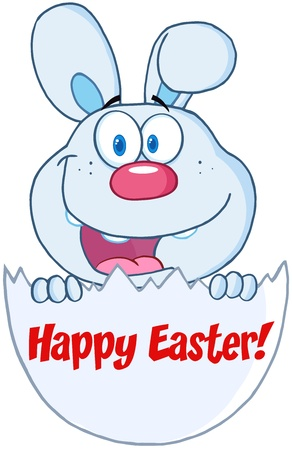 Surprise Blue Bunny Peeking Out Of An Easter Egg With Text Stock Vector - 18295205