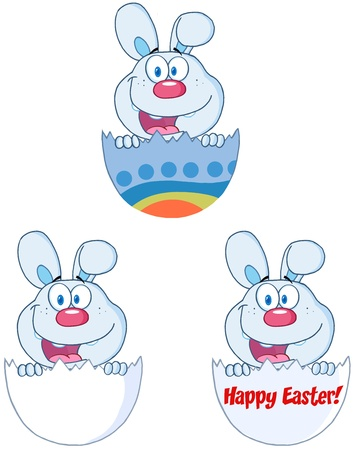 Cute Blue Bunny Peeking Out Of An Easter Egg  Collection Vector