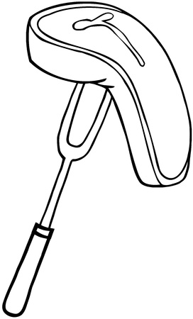 Outlined Fork With Steak Vector